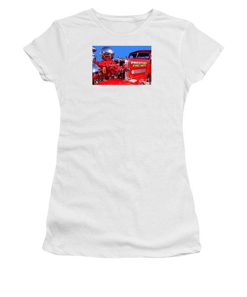 1949 Ahrens Fox Piston Pumper Fire Truck Women's T-Shirt (Junior Cut) by Jim Carrell