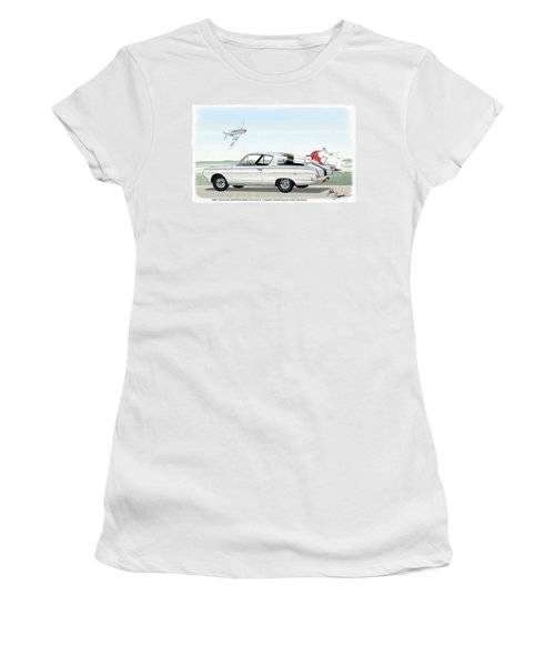 1965 Barracuda  Classic Plymouth Muscle Car Women's T-Shirt (Junior Cut) by John Samsen