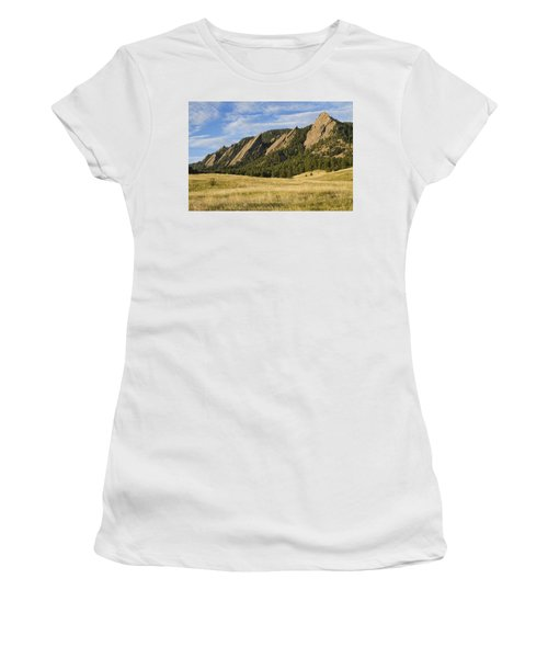 Flatirons With Golden Grass Boulder Colorado Women's T-Shirt (Athletic Fit)