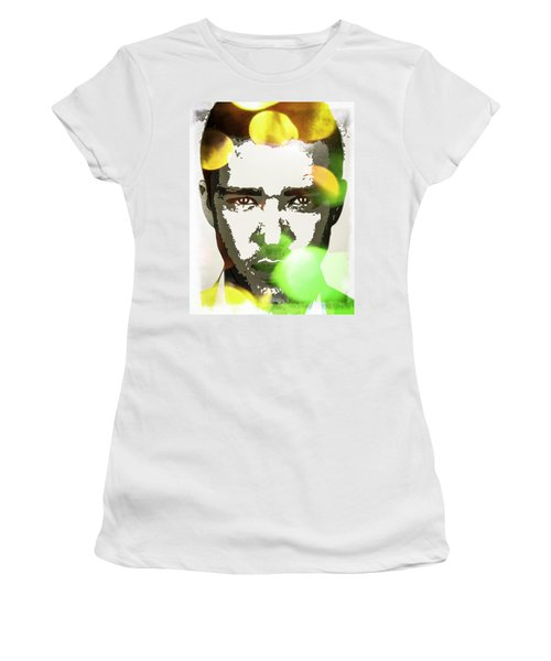 Women's T-Shirt (Junior Cut) featuring the digital art Justin Timberlake by Svelby Art
