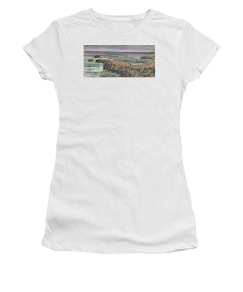 Women's T-Shirt (Junior Cut) featuring the painting Pescadero Beach by Donald Maier