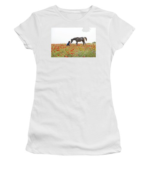 Women's T-Shirt (Junior Cut) featuring the photograph Three At The Poppies' Field... 4 by Dubi Roman
