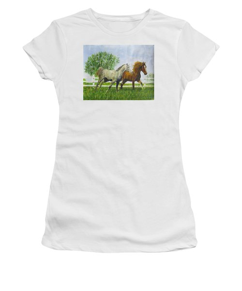 Two Horses Running By White Picket Fence Women's T-Shirt (Athletic Fit)