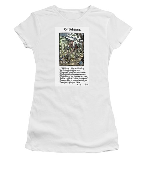 Women's T-Shirt (Junior Cut) featuring the painting Vinegrower, 1568 by Granger