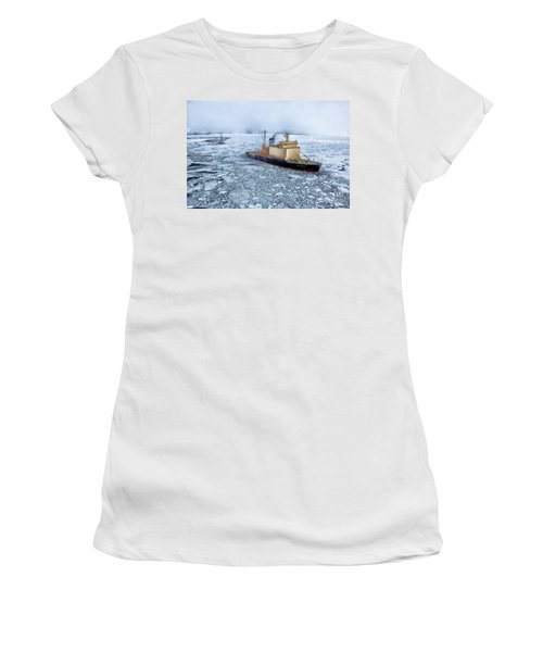 Women's T-Shirt (Junior Cut) featuring the photograph Arctic Sea Ocean Water Antarctica Winter Snow by Paul Fearn