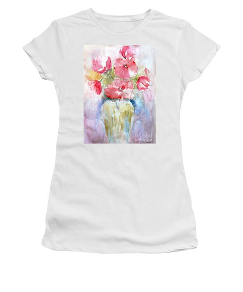 Women's T-Shirt (Junior Cut) featuring the painting Poppies by Jasna Dragun