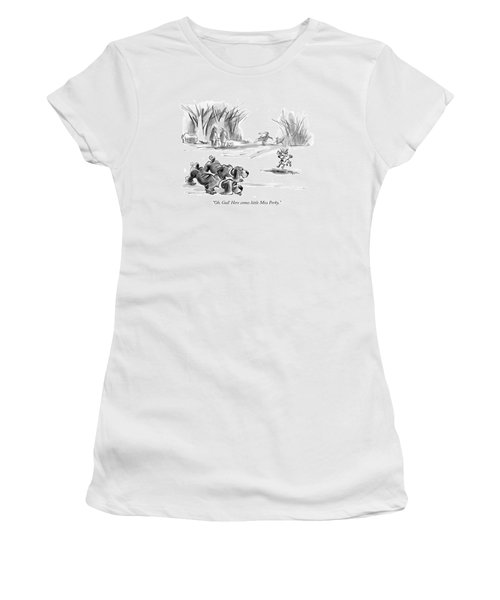 Oh, God! Here Comes Little Miss Perky Women's T-Shirt