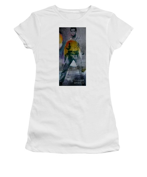Women's T-Shirt (Junior Cut) featuring the mixed media Elvis by Marvin Blaine