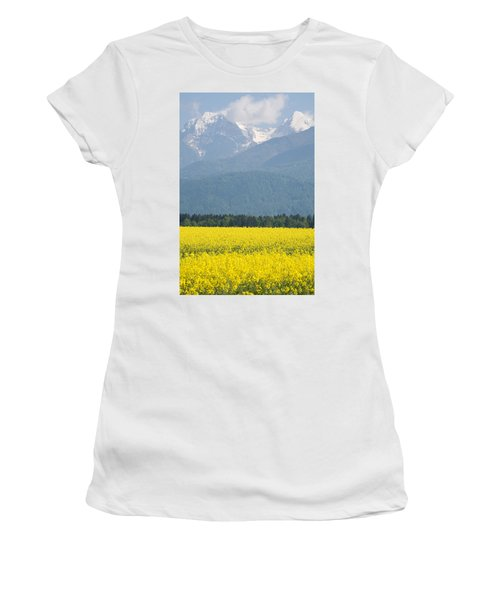rapeseed field in Brnik with Kamnik Alps in the background Women's T-Shirt (Athletic Fit)