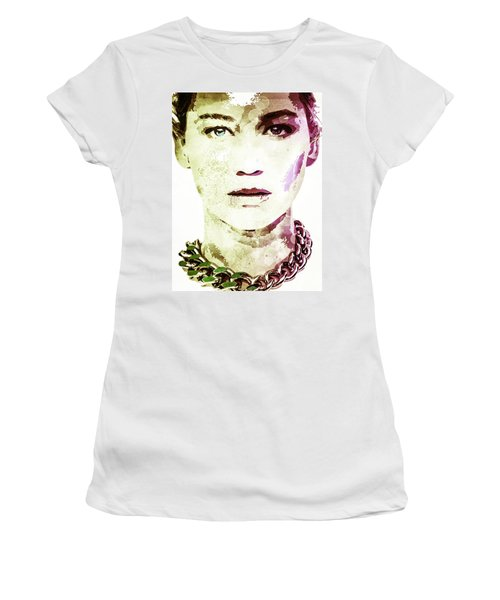 Women's T-Shirt (Junior Cut) featuring the digital art Jennifer Lawrence by Svelby Art