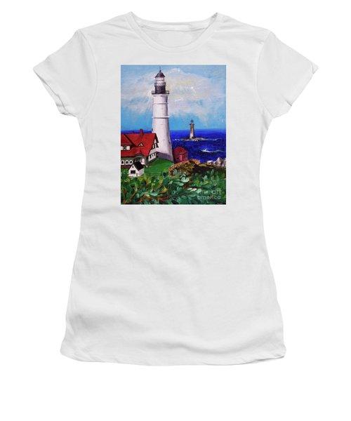 Lighthouse Hill Women's T-Shirt (Junior Cut) by Linda Simon