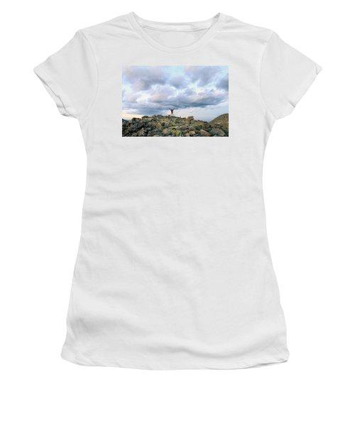 A Backpacker Stands Triumphantly Atop Women's T-Shirt