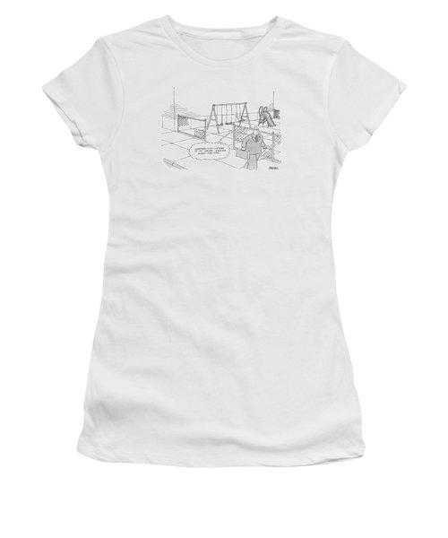 A Businessman Walks Away From A Playground Women's T-Shirt