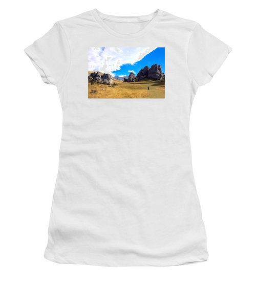 A Castle Hill Walk Women's T-Shirt (Junior Cut) by Stuart Litoff