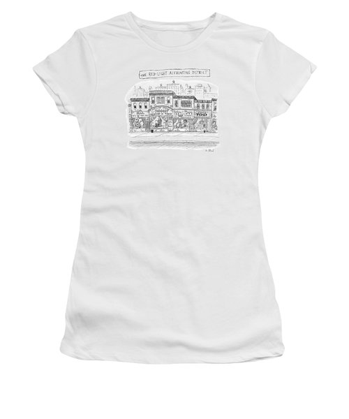 A City Block Is Full Of Buildings With Glass Women's T-Shirt