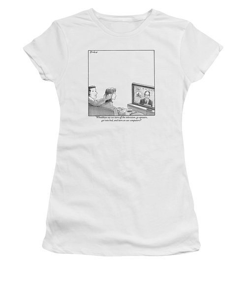 A Couple Are Sitting On A Couch Late At Night Women's T-Shirt