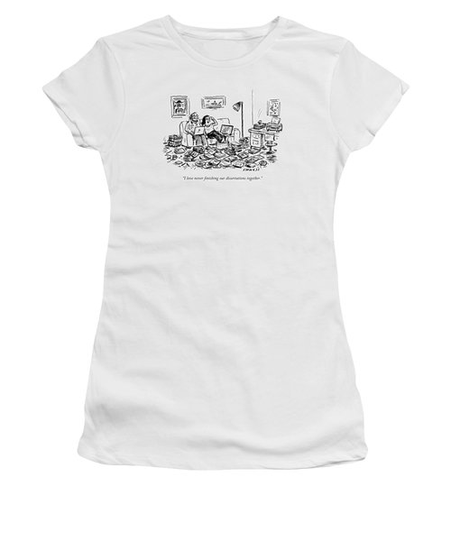 A Couple On A Couch Surrounded By Books Women's T-Shirt