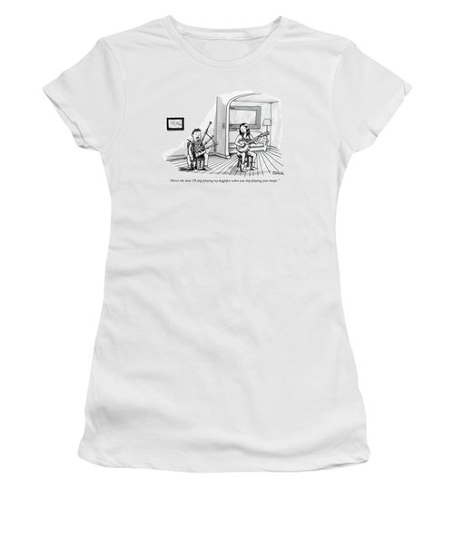 A Couple Sits In The Living Room Testing Who Women's T-Shirt