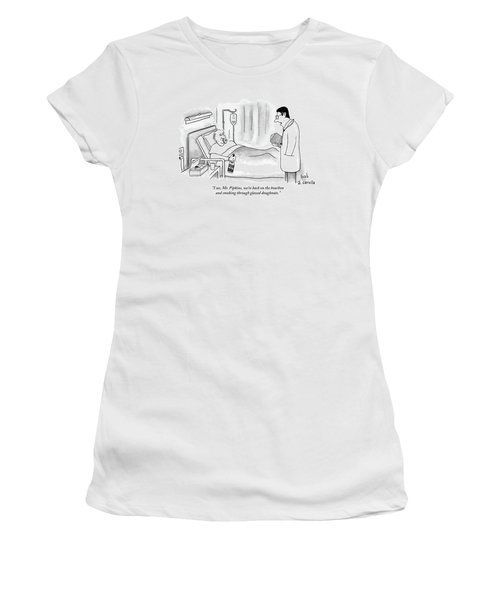 A Doctor Speaks To A Patient In A Hospital Bed Women's T-Shirt