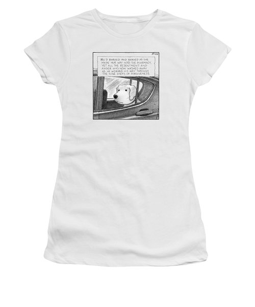 A Dog Looks Out Of A Car Window.  Title: He'd Women's T-Shirt