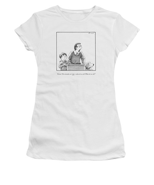 A Father, Son, And Dog All Worry At The Sight Women's T-Shirt