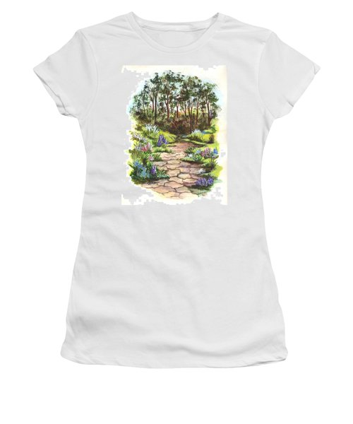 Women's T-Shirt (Junior Cut) featuring the painting Down The Garden Pathway  by Carol Wisniewski