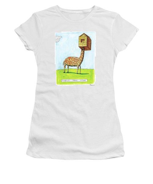 A Giraffe Has A Tree House Over His Head Women's T-Shirt