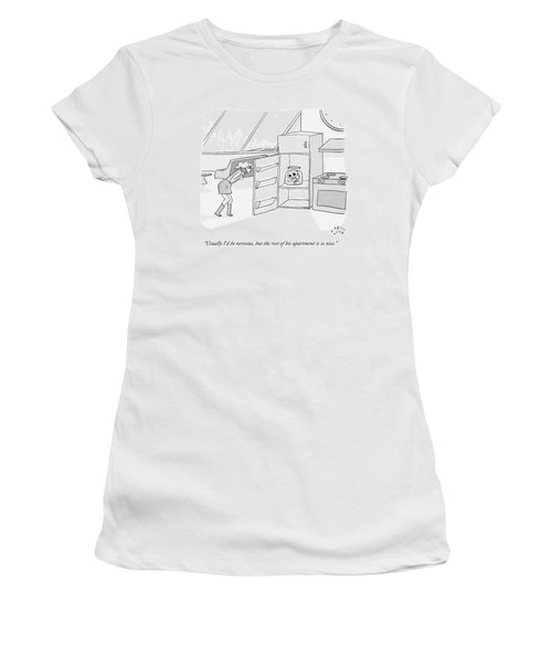 A Girl Who Is Talking On The Phone Opens A Fridge Women's T-Shirt