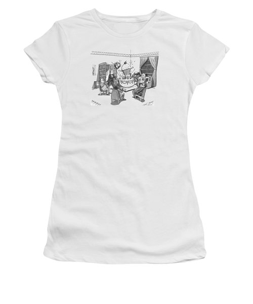 A Group Of Overweight Gentlemen Are Sitting Women's T-Shirt