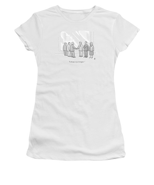 A Group Of People In A Boardroom Watch As Two Men Women's T-Shirt