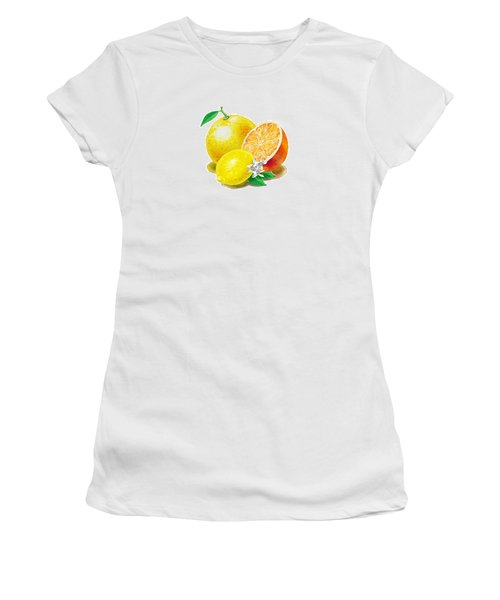 A Happy Citrus Bunch Grapefruit Lemon Orange Women's T-Shirt (Junior Cut)