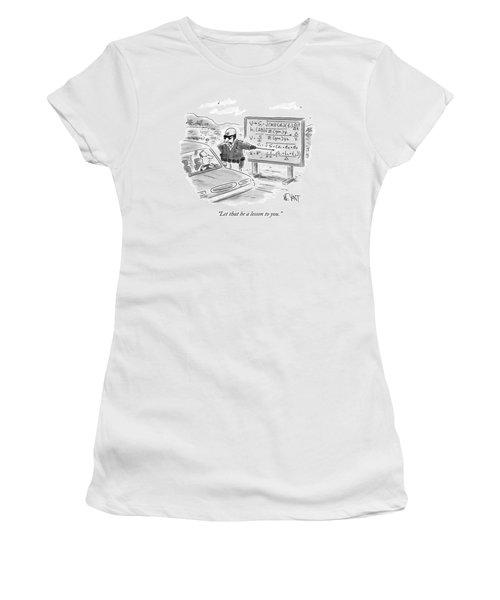 A Highway Traffic Cop Stops A Drive Women's T-Shirt