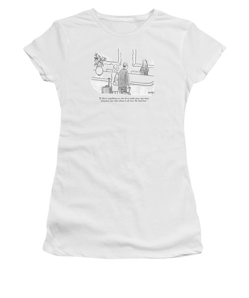 A Hotel Receptionist Welcomes A Couple At A Check Women's T-Shirt