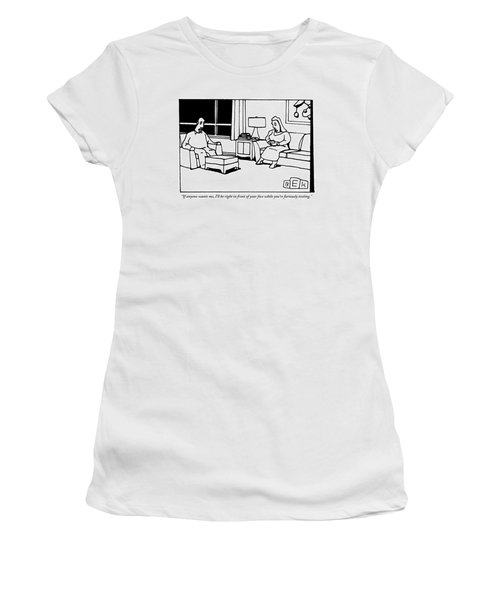 A Husband And Wife Sit In Their Living Room Women's T-Shirt