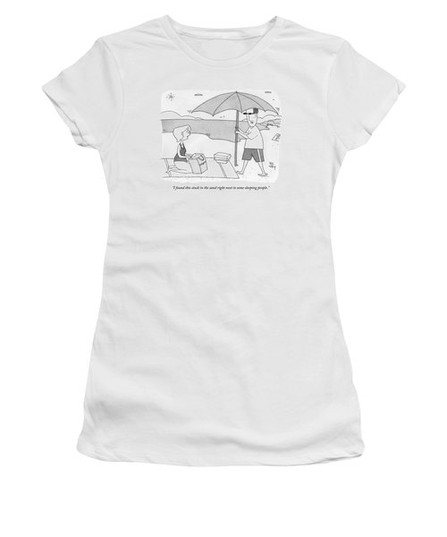 A Husband Returns To His Wife At The Beach Having Women's T-Shirt