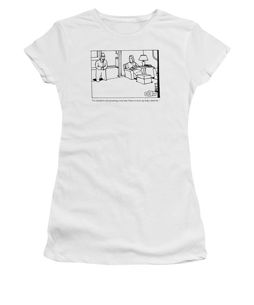 A Husband Says To His Wife In Their Livingroom Women's T-Shirt
