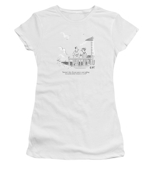 A Husband Talks To A Wife On A Porch Of A Beach Women's T-Shirt