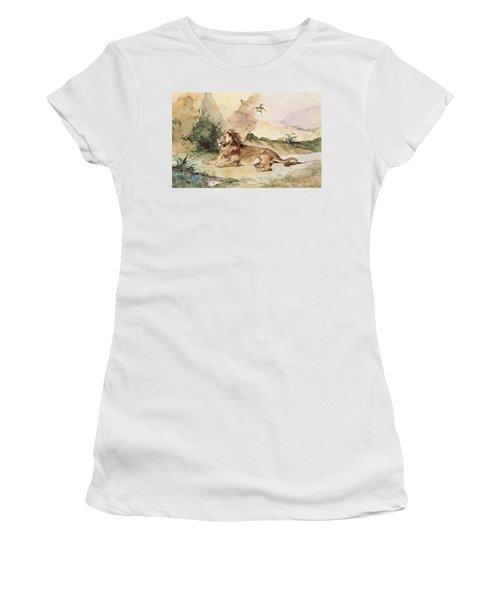 A Lion In The Desert Women's T-Shirt