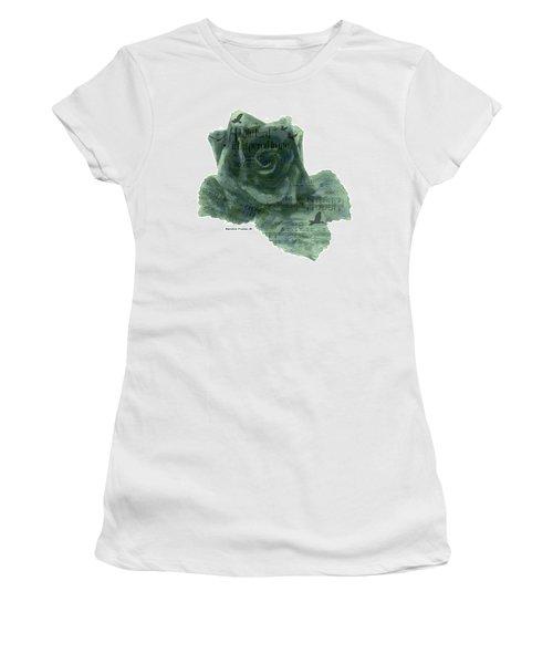 Women's T-Shirt (Junior Cut) featuring the photograph A Little Bird Whispered To Me Digital Rose  by Sandra Foster