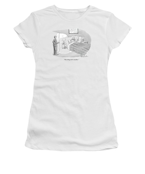 A Lover Covered In Numbered Dots Lies In Bed Women's T-Shirt