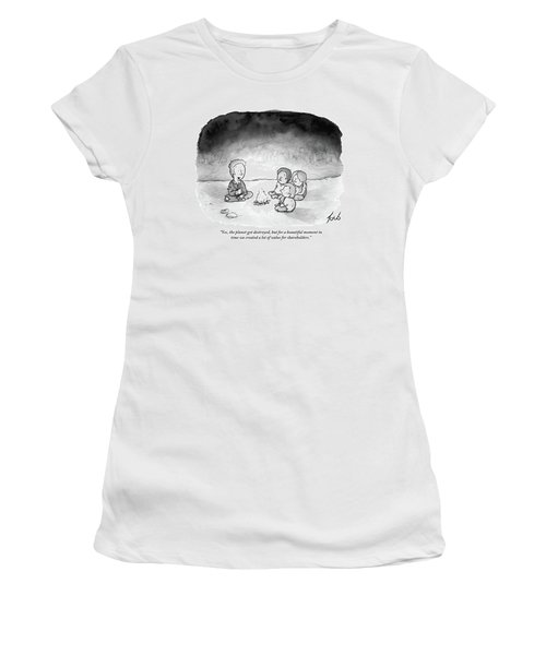 A Man And 3 Children Sit Around A Fire Women's T-Shirt (Junior Cut) by Tom Toro