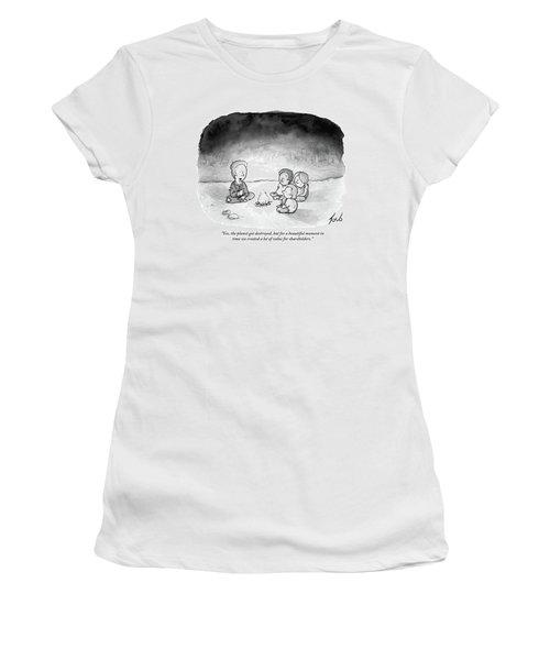 A Man And 3 Children Sit Around A Fire Women's T-Shirt
