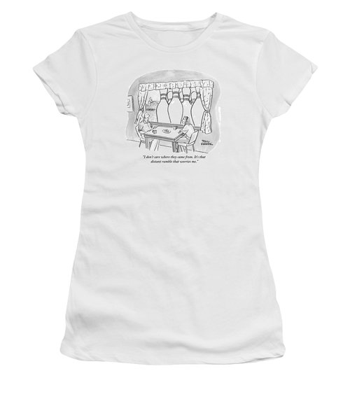 A Man And A Woman Are Sitting At A Round Table Women's T-Shirt