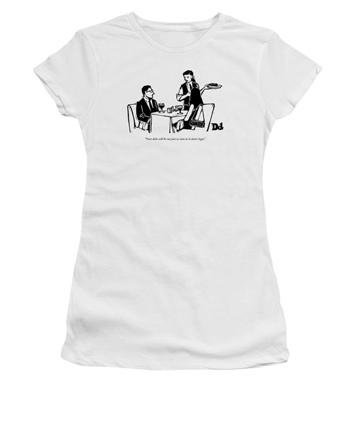 A Man And Woman Are Dining At A Restaurant Women's T-Shirt