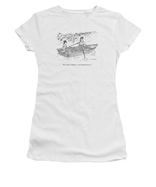 A Man And Woman On A Row Boat Pass By A Man Women's T-Shirt