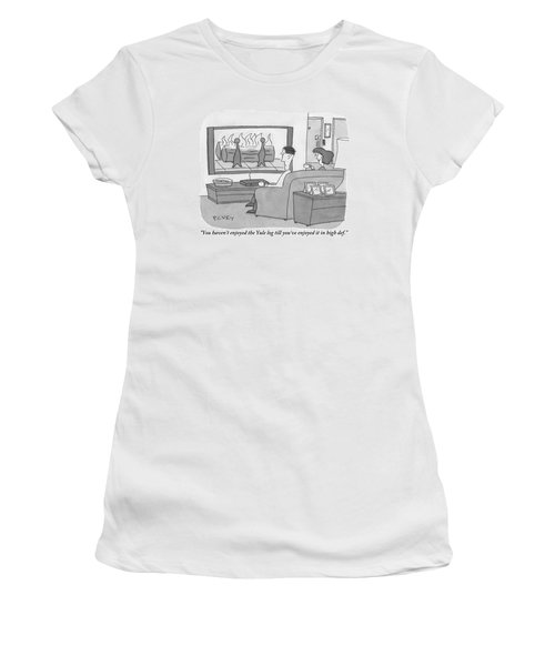 A Man And Woman Sit On A Couch Facing An Women's T-Shirt