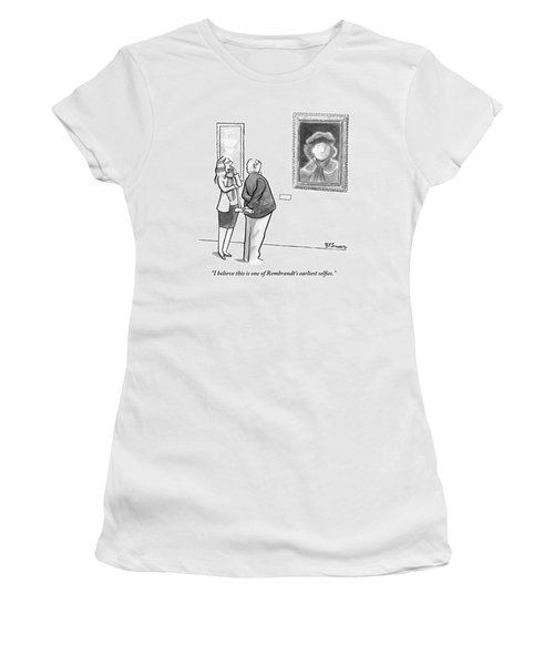 A Man And Woman Stand In A Museum Looking Women's T-Shirt