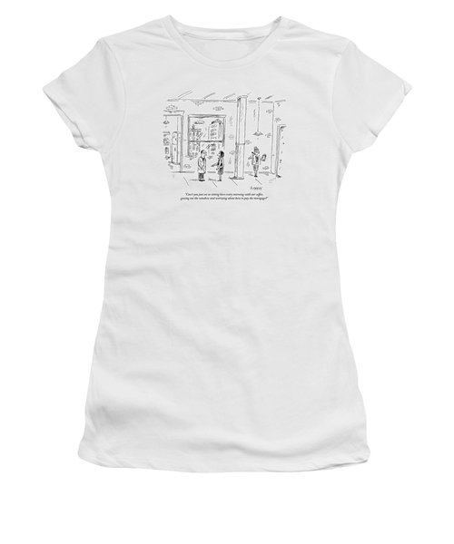 A Man And Woman Stand Inside An Empty Property Women's T-Shirt