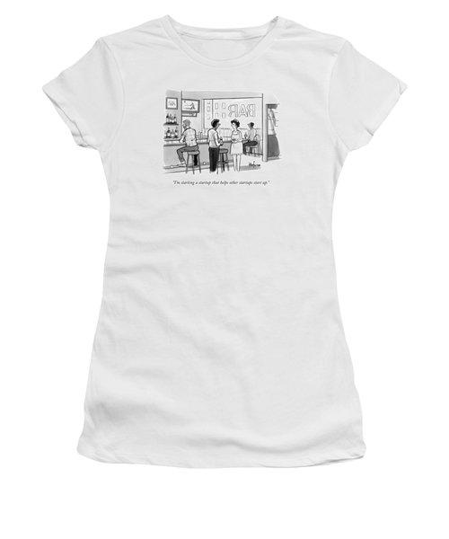 A Man In A Bar Talks To A Woman Women's T-Shirt
