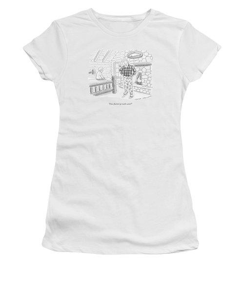 A Man In A Log Cabin Wears A Flannel Shirt Women's T-Shirt